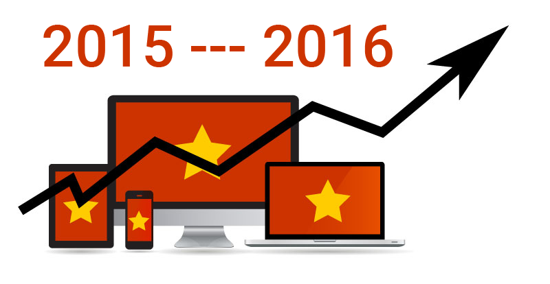 Internet statistics comparison between 2015 and 2016 in Vietnam including Social media and Mobile