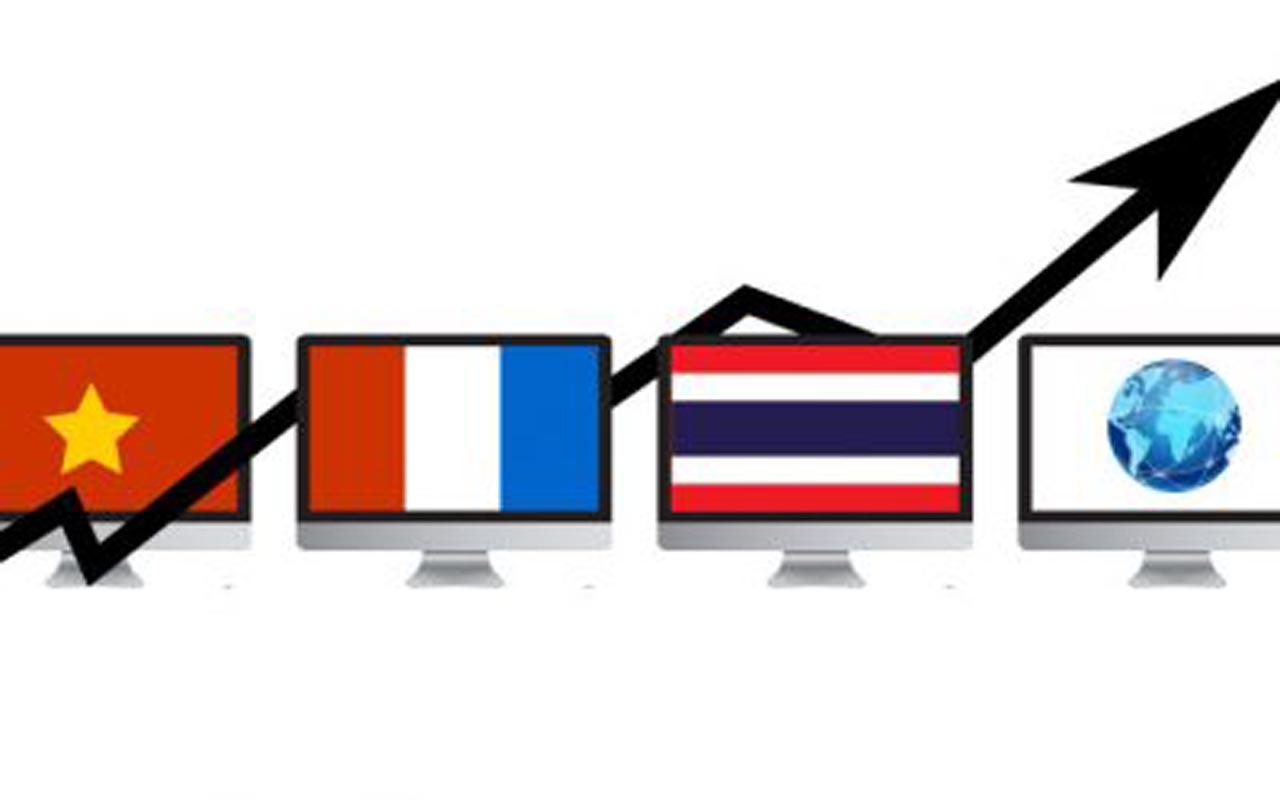 Internet statistics in Vietnam compared to France, USA, Thailand and average International statistics