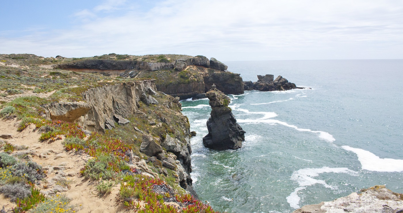 Paysage randonnée littoral Portugal Cigogne